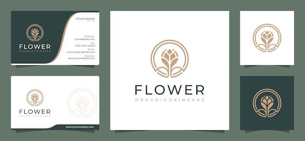 Modelo de design de logotipo de flor elegante e minimalista Vetor Premium