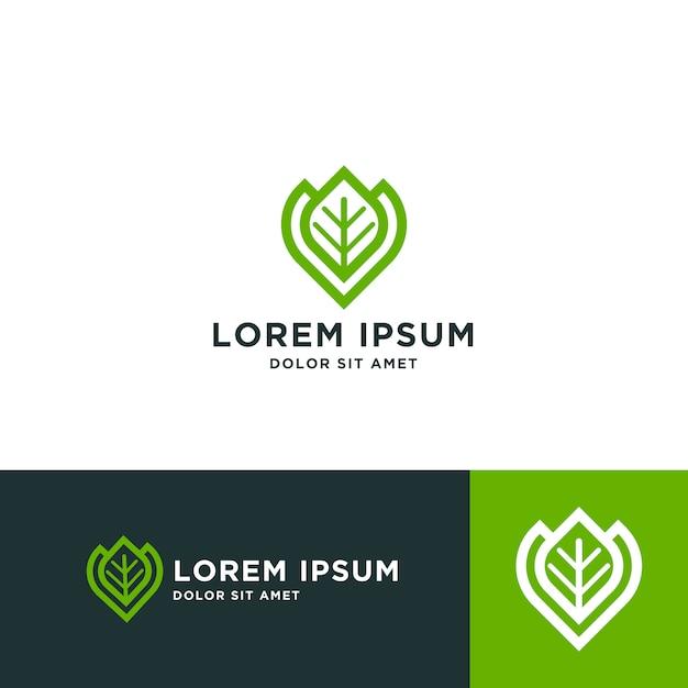 Modelo de design de logotipo de folha Vetor Premium