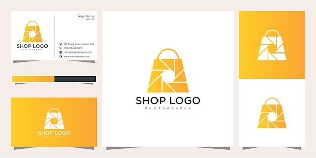 Modelo de design de logotipo de fotografia de loja e cartão de visita Vetor Premium
