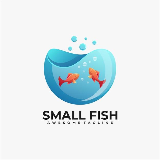 Modelo de design de logotipo de ilustração de peixes pequenos Vetor Premium