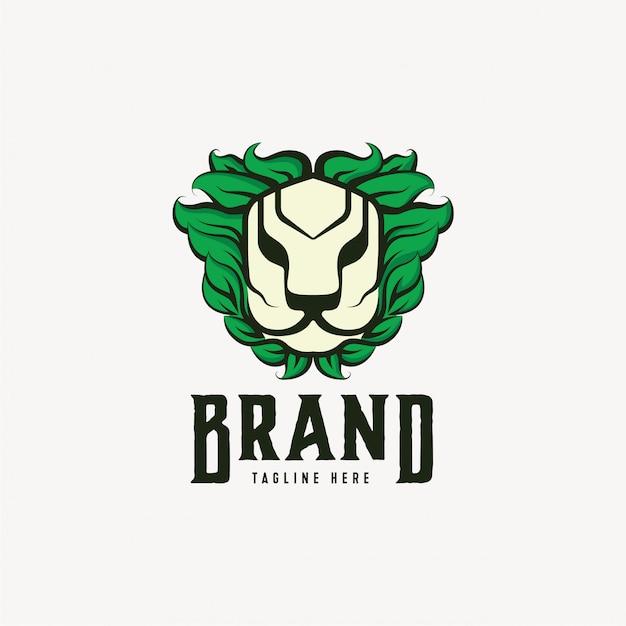 Modelo de design de logotipo de leão natureza Vetor Premium