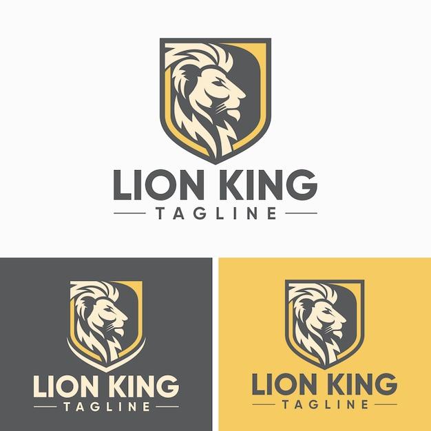 Modelo de design de logotipo de leão vintage Vetor Premium