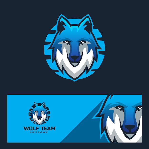 Modelo de design de logotipo de lobo esporte moderno Vetor Premium