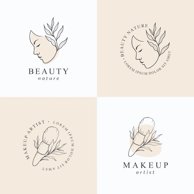 Modelo de design de logotipo de maquiagem beleza. Vetor Premium