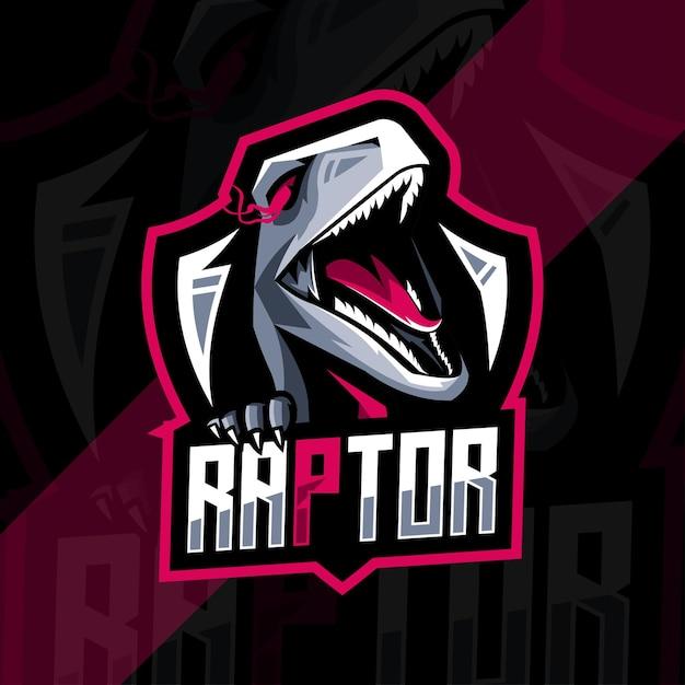 Modelo de design de logotipo de mascote raptor Vetor Premium