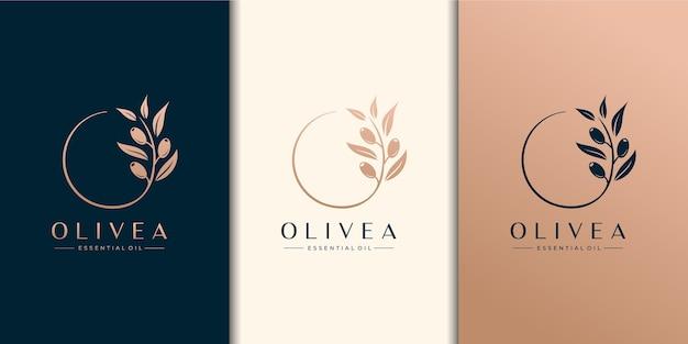 Modelo de design de logotipo de oliveira e óleo essencial Vetor Premium