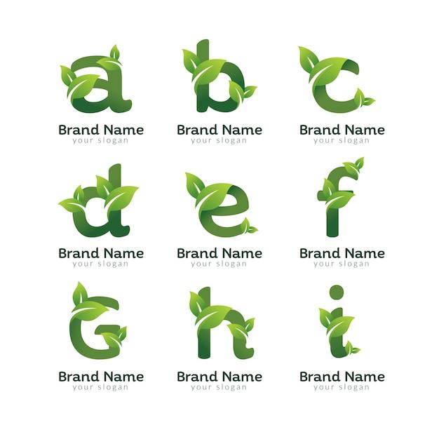 Modelo de design de logotipo de pacote de carta verde eco Vetor Premium