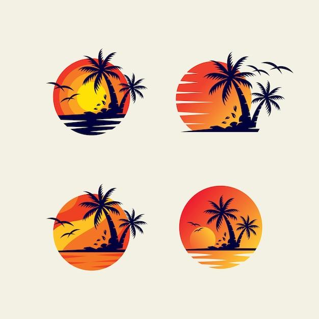 Modelo de design de logotipo de pacote de praia Vetor Premium