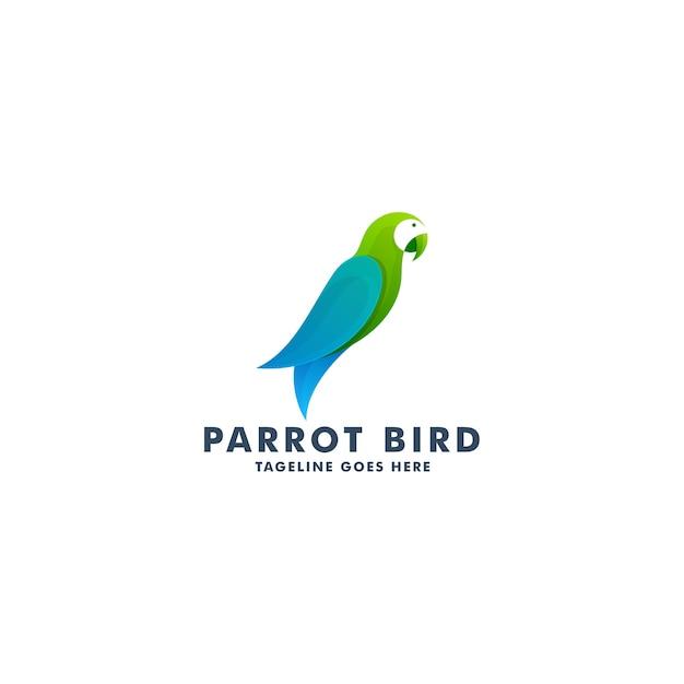 Modelo de design de logotipo de pássaro papagaio, ilustração de símbolo de ícone de animal Vetor Premium