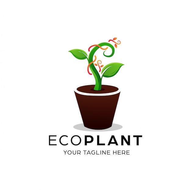 Modelo de design de logotipo de planta ecológica Vetor Premium