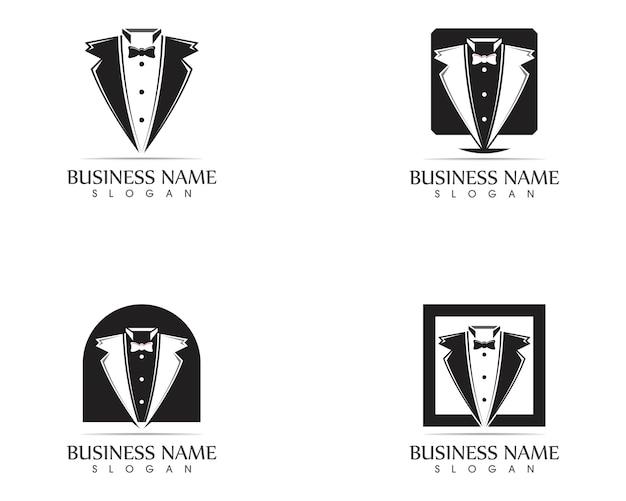 Modelo de design de logotipo de smoking Vetor Premium
