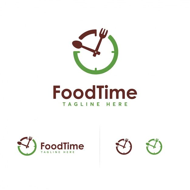 Modelo de design de logotipo de tempo de comida Vetor Premium