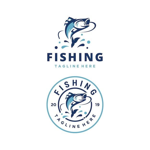 Modelo de design de logotipo de vetor de aventura de pesca Vetor Premium