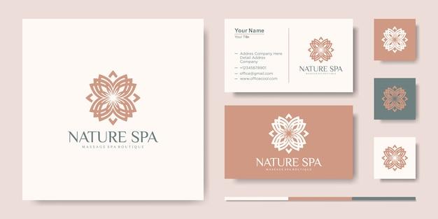 Modelo de design de logotipo de vetor de inspiração criativa de folhas de flores e cartão de visita Vetor Premium