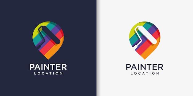 Modelo de design de logotipo do pintor, pintura, serviço, reparo, localização, pino Vetor Premium