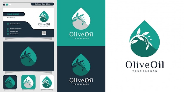 Modelo de design de logotipo e cartão de azeite, gota, marca, óleo, beleza, verde, ícone, saúde, Vetor Premium