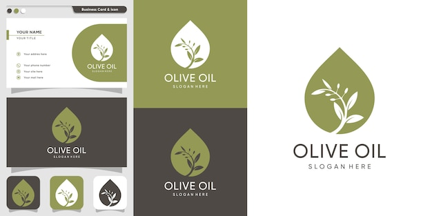 Modelo de design de logotipo e cartão de azeite, marca, óleo, beleza, verde, ícone, saúde, Vetor Premium