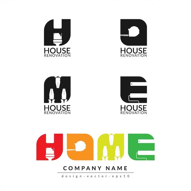 Modelo de design de logotipo em casa isolado Vetor Premium