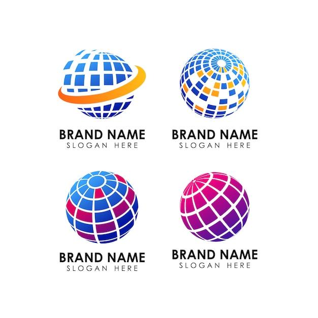 Modelo de design de logotipo geométrico globo Vetor Premium