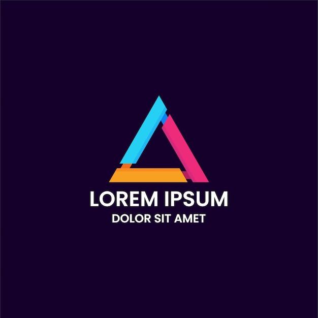 Modelo de design de logotipo impressionante triângulo colorido Vetor Premium