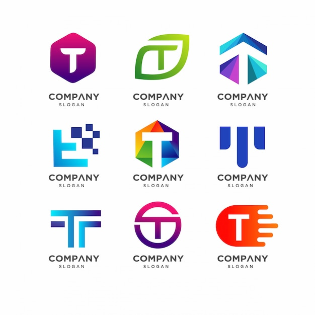 Modelo de design de logotipo letra t Vetor Premium