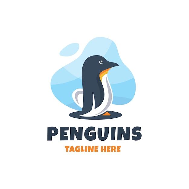 Modelo de design de logotipo moderno pinguins coloridos Vetor Premium