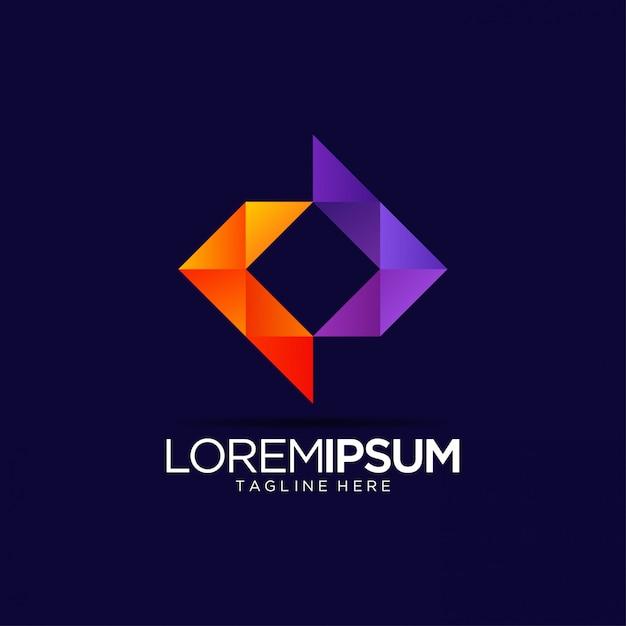 Modelo de design de logotipo vibrante abstrato de mídia colorida Vetor Premium