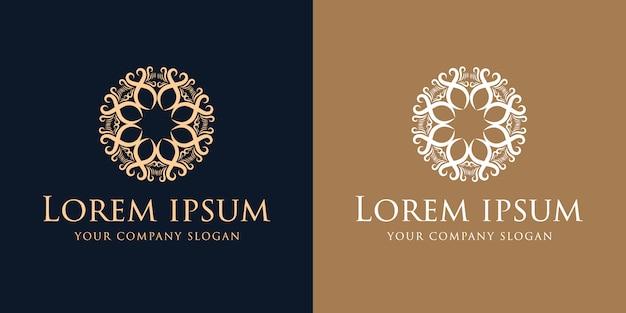 Modelo de design de logotipo vintage de luxo dourado de florescer Vetor Premium