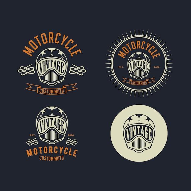 Modelo de design de logotipo vintage de motocicleta costum Vetor Premium