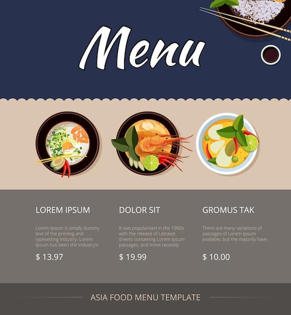 Modelo de design de menu de comida tailandesa. preço e compra, camarão e cozinha, frutos do mar no café da manhã, ilustração vetorial Vetor grátis