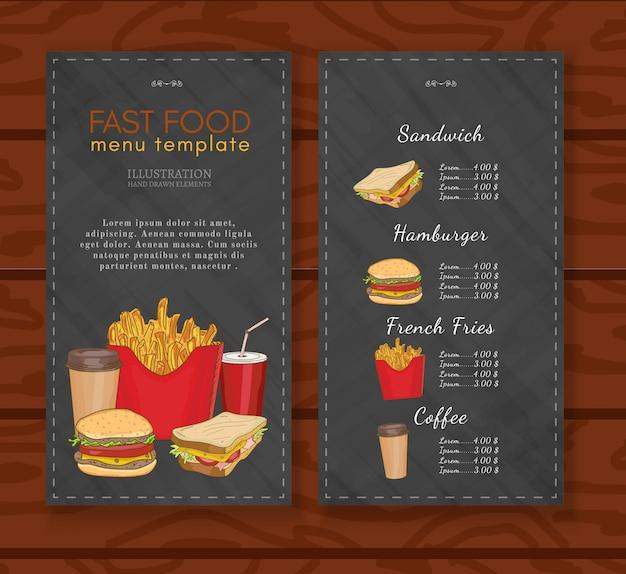 Modelo de design de menu de fast-food Vetor Premium