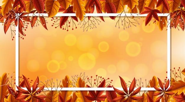 Modelo de design de moldura com folhas de outono em Vetor Premium