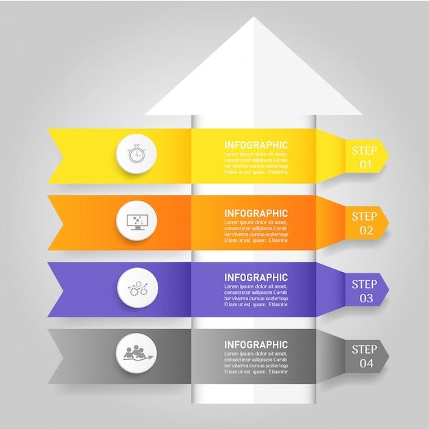 Modelo de design de negócios 4 opções infográfico para apresentações. Vetor Premium