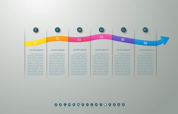 Modelo de design de negócios 6 opções infográfico para apresentações. Vetor Premium