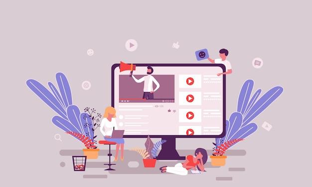 Modelo de design de página da web plana da página inicial de blogs de vídeo Vetor Premium
