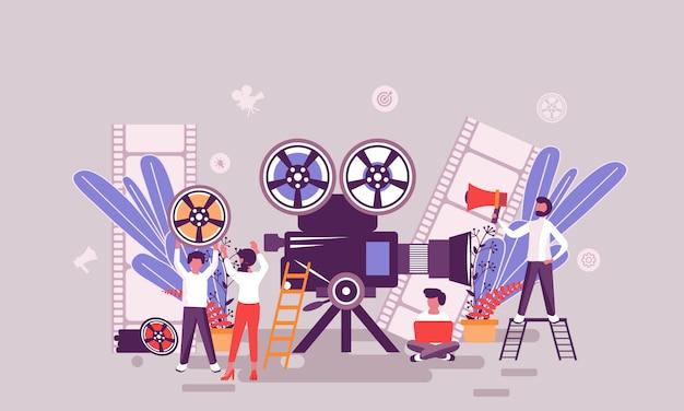 Modelo de design de página da web plana da página inicial de produção de vídeo Vetor Premium