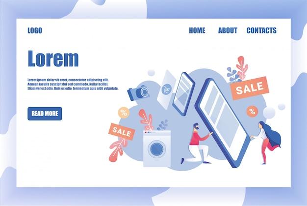 Modelo de design de página para a loja de eletrodomésticos Vetor Premium