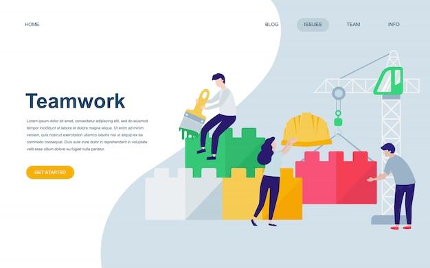 Modelo de design de página web apartamento moderno do trabalho em equipe Vetor Premium
