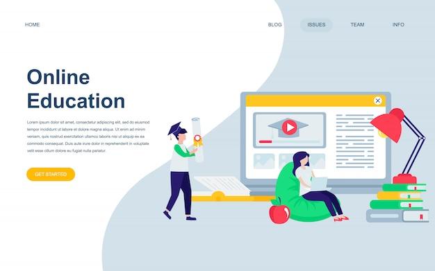 Modelo de design de página web plana moderna de educação on-line Vetor Premium
