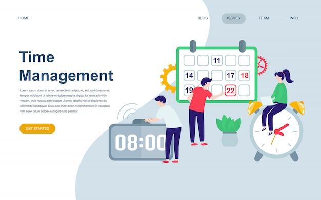 Modelo de design de página web plana moderna de gerenciamento de tempo Vetor Premium