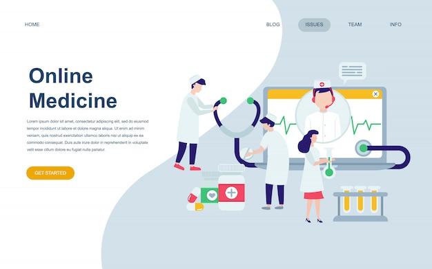 Modelo de design de página web plana moderna de medicina Vetor Premium