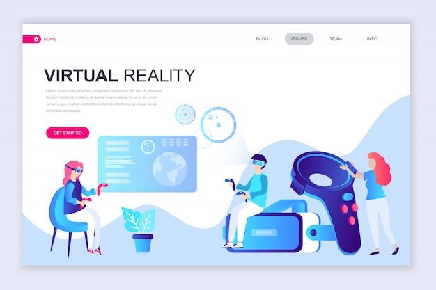 Modelo de design de página web plana moderna de realidade virtual Vetor Premium