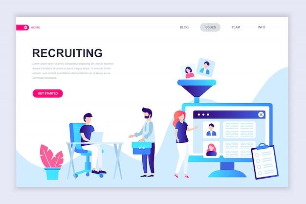 Modelo de design de página web plana moderna de recrutamento Vetor Premium
