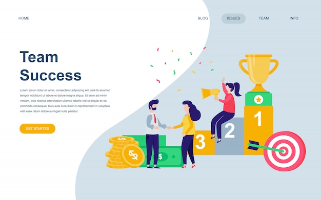 Modelo de design de página web plana moderna do sucesso da equipe Vetor Premium