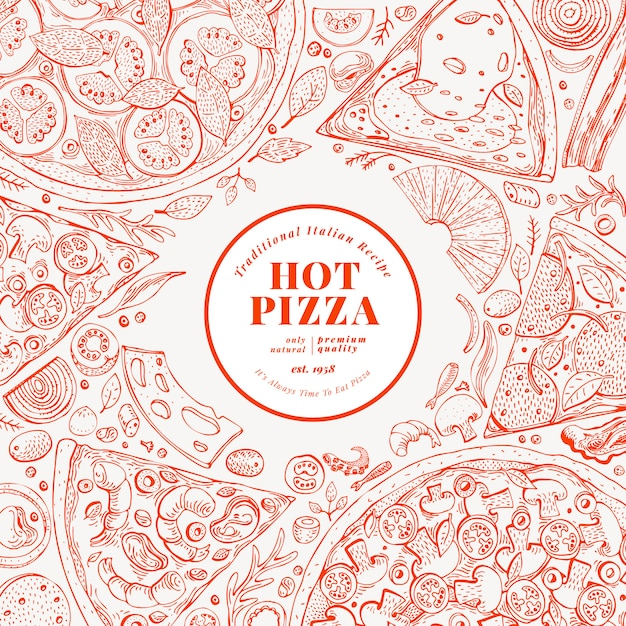 Modelo de design de pizza. mão desenhada vector fast food ilustração. fundo italiano retro da pizza do estilo do esboço. Vetor Premium