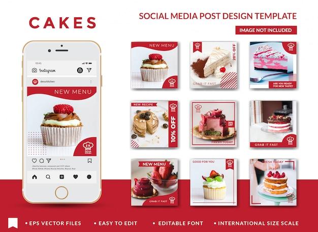 Modelo de design de post de mídia social de bolos Vetor Premium