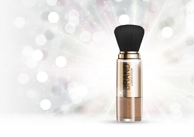 Modelo de design de produto cosmético em pó para anúncios ou fundo de revista Vetor Premium