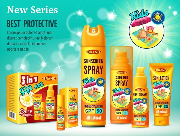 Modelo de design de publicidade de proteção solar de cosméticos. Vetor grátis
