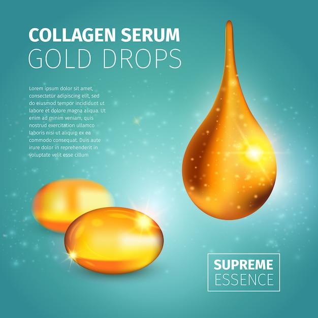 Modelo de design de publicidade de soro de colágeno com cápsulas de óleo dourado e gota brilhante iluminada Vetor grátis