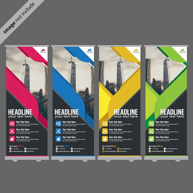 Modelo de design de roll up banner Vetor Premium